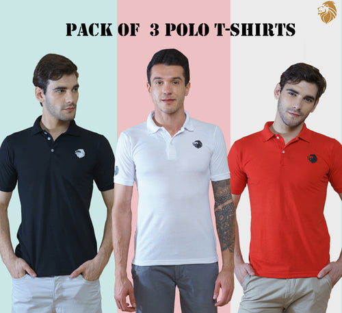 New Branded 3 T-Shirts for Men (Black, White, Red)