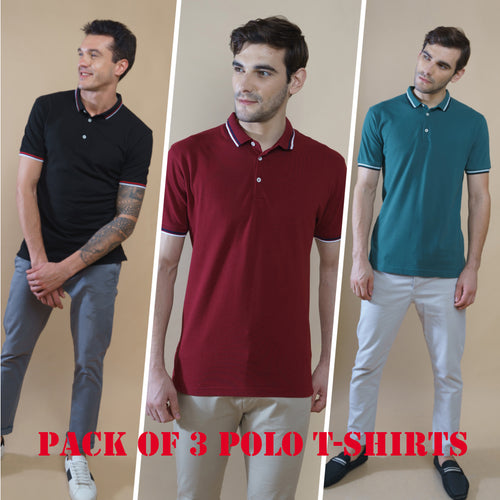 Sark Collection - Combo of 3 Polo T-Shirts (Maroon, Green, Black)