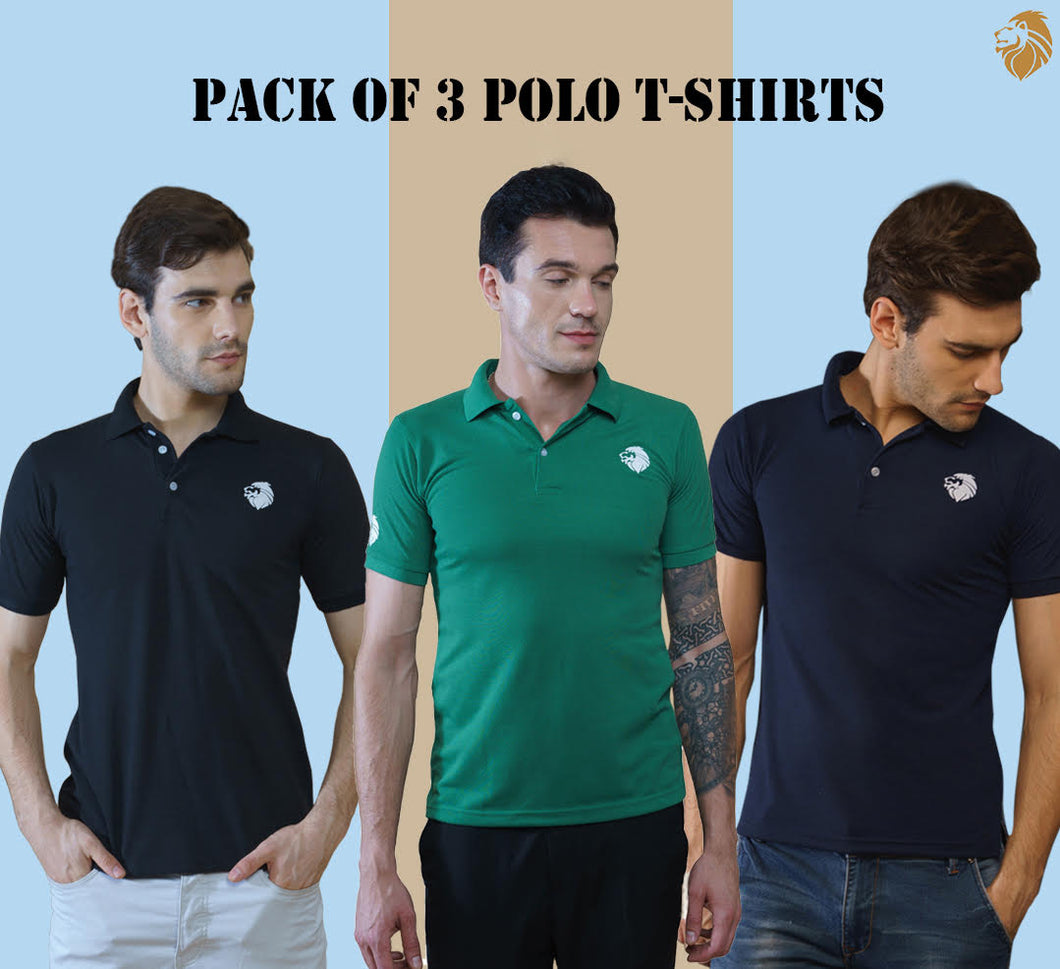 Lion Polo Pack of 3 Polo T-Shirts (Black, Green, Navy Blue)