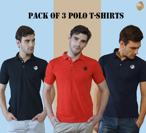 Combo of 3 Branded Men's Polo T-Shirts (Black, Red, Navy Blue)