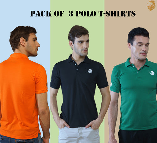 Combo of 3 Different Color T-Shirts for Men (Green, Black, Orange)
