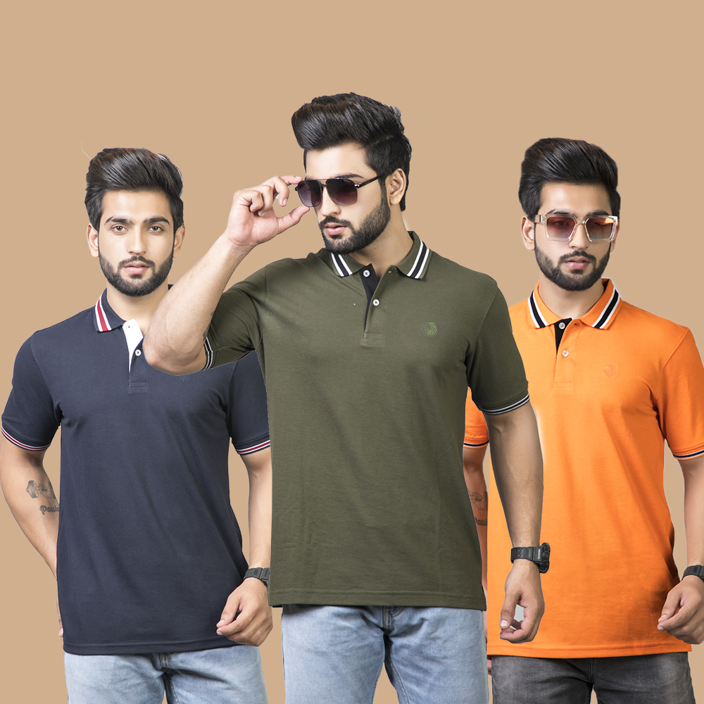 Delighted Solid Combo Pack of 3 - Navy Blue, Olive and Orange