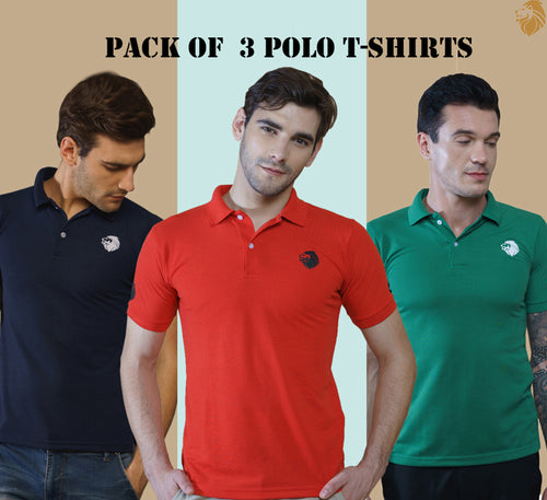 LionPolo Multicolor Pack of 3 Polo T-Shirts (Red, Navy blue, Green)