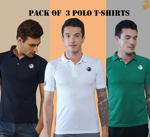 New Branded 3 T-Shirts for Men (Green, Navy blue, White)