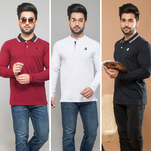 Dynamic Combo Pack Of 3 (Maroon, White & Navy Blue)