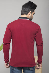 Maroon Full Sleeve Polo T-shirt