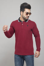 Load image into Gallery viewer, Maroon Full Sleeve Polo T-shirt