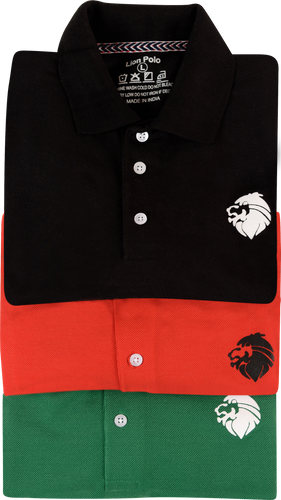 Pack of 3 Cotton Polo T-Shirts (Black, Red, Green)