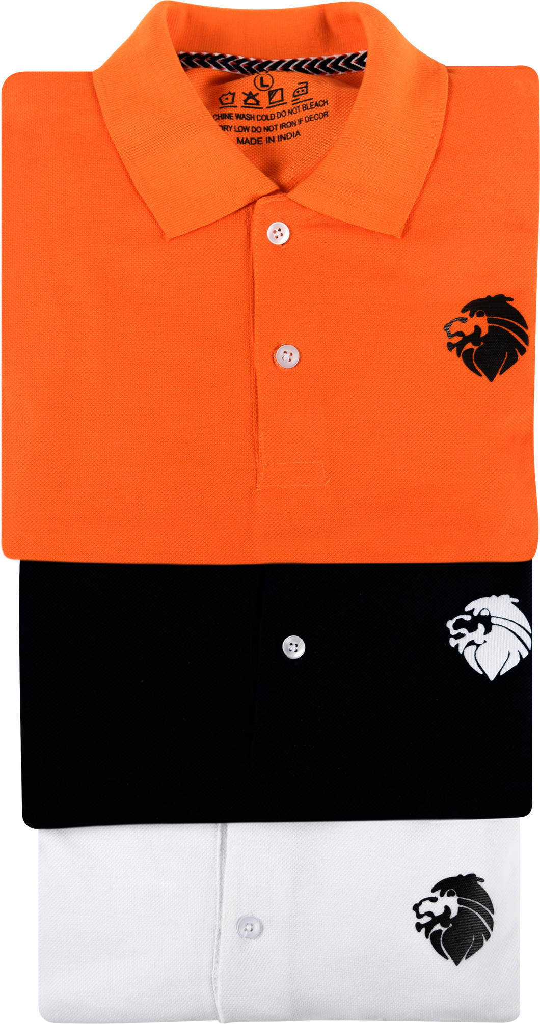 LionPolo Men's Cotton Soft Tshirts Combo - Pack of 3 (Orange, Black, White)