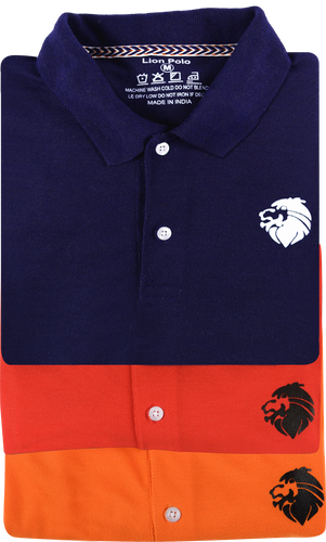 3 Pack Tshirts - Lion Polo(Navy blue, Orange, Red)