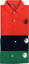 Load image into Gallery viewer, LionPolo Multicolor Pack of 3 Polo T-Shirts (Red, Navy blue, Green)