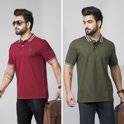 Optimistic Combo (Pack of 2) - Olive and Maroon Solid Combo