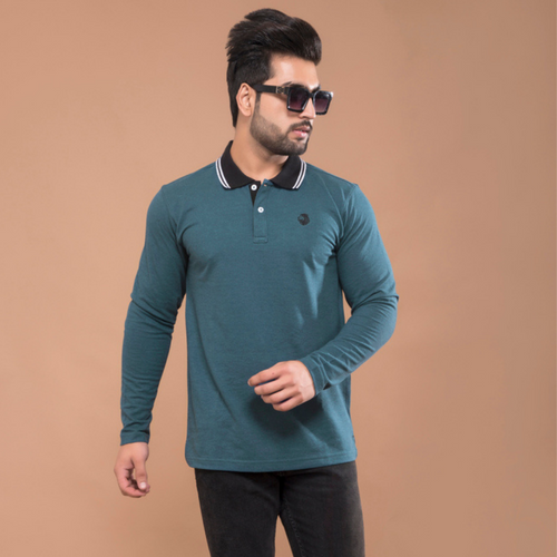 Aqua-Teal Full Sleeve Polo T-shirt
