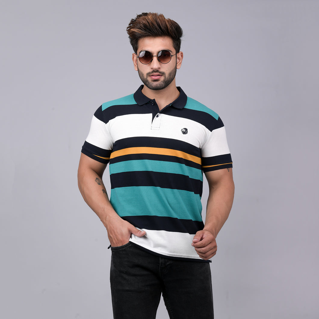 Green Striper Polo T-Shirt