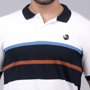 White/Navy Blue Striper Polo T-Shirt