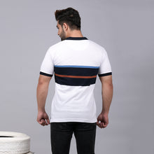 Load image into Gallery viewer, White/Navy Blue Striper Polo T-Shirt