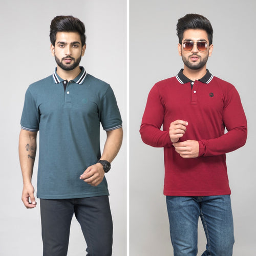 Optimistic Combo (Pack of 2) - Aqua teal(Half Sleeves) and Maroon(Full Sleeve) Solid Combo