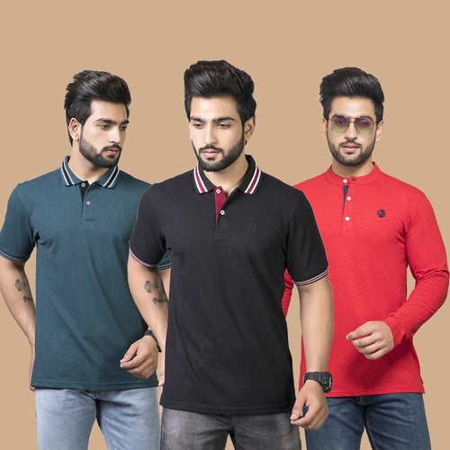 Dynamic Combo Pack Of 3- Aqua Teal, Black (Half Sleeve) and Red Henley (Full Sleeve)