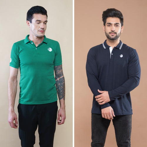 Drape Combo (Pack Of 2) - Green Half Sleeve and Navy Blue Full Sleeve