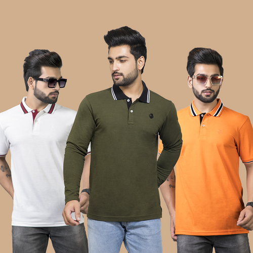 Iconic Combo Pack of 3 - White-Orange(Half Sleeves) and Olive(Full Sleeves)