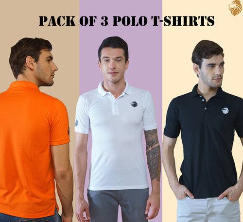 LionPolo Men's Soft Tshirts Combo - Pack of 3 (Orange, Black, White)