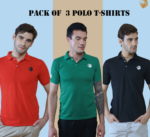 Lion Polo Pack of 3 Polo T-Shirts (Red, Green ,Black )