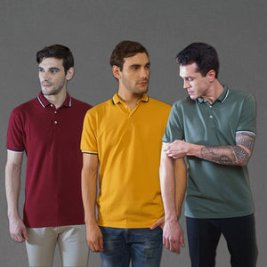 Sark Collection - Crazy Combo of 3 Polo T-Shirts (Maroon, Mustard, Olive)
