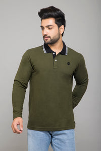 Olive Full Sleeve Polo T-Shirt and White Henley  T-Shirt (Pack Of 2)