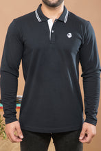 Load image into Gallery viewer, Navy Blue Full Sleeve Polo T-shirt