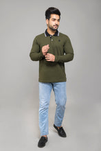 Load image into Gallery viewer, Olive Full Sleeve Polo T-shirt