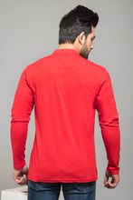 Load image into Gallery viewer, Red Full Sleeve Henley T-shirt