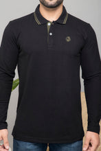 Load image into Gallery viewer, Black Full Sleeve Polo T-shirt