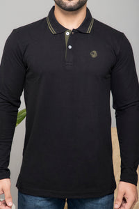 Black Full Sleeve Polo T-shirt