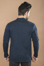 Load image into Gallery viewer, Navy Blue Full Sleeve Henley T-shirt