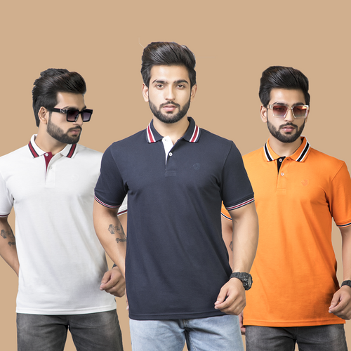 Iconic Combo Pack of 3 - White,Navy Blue and Orange