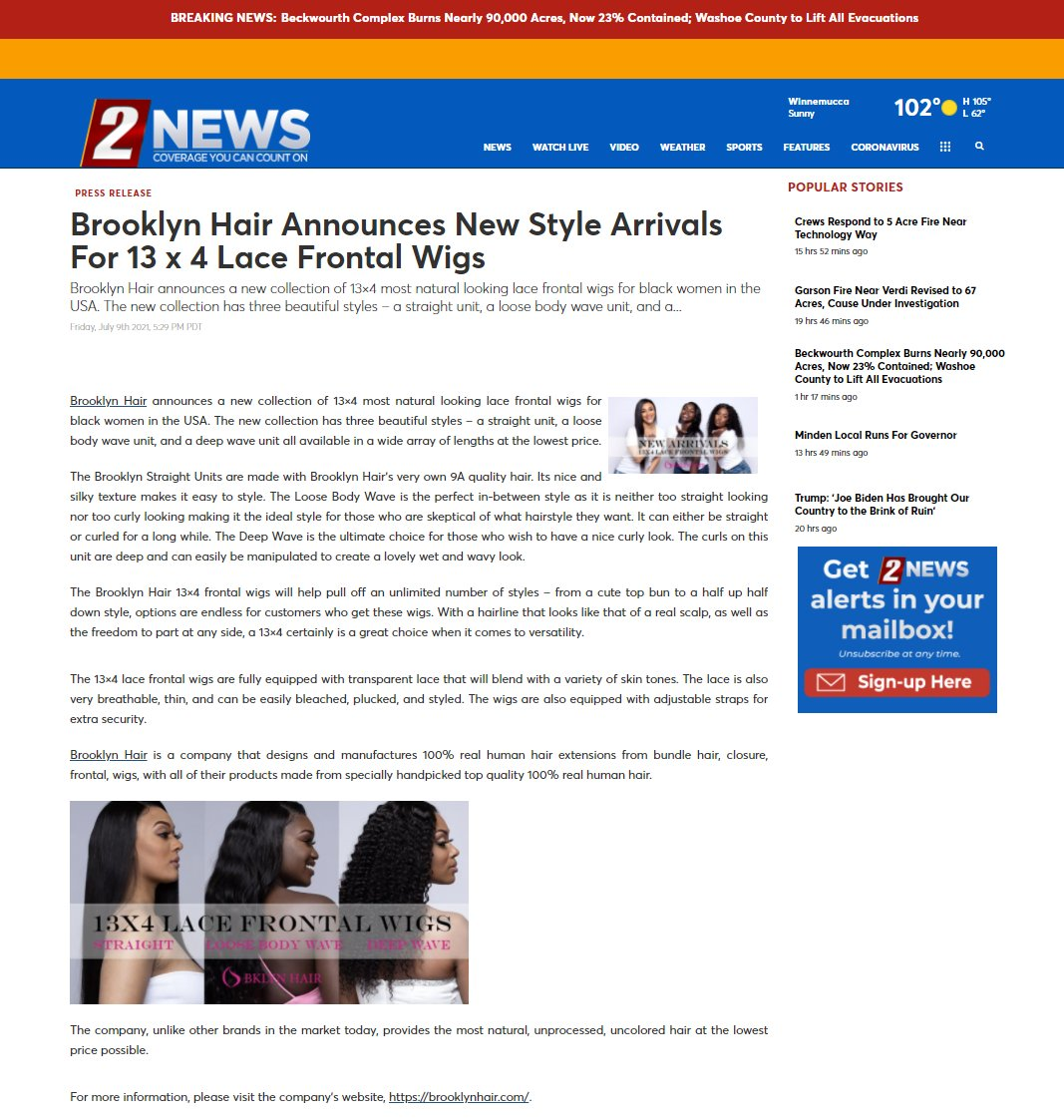 Brooklyn Hair Announces New Style Arrivals For 13 x 4 Lace Frontal Wigs