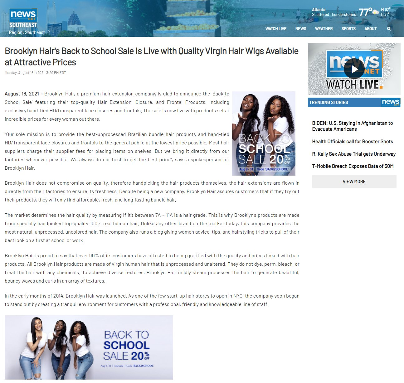 Brooklyn Hair's Back to School Sale Is Live with Quality Virgin Hair Wigs Available at Attractive Prices