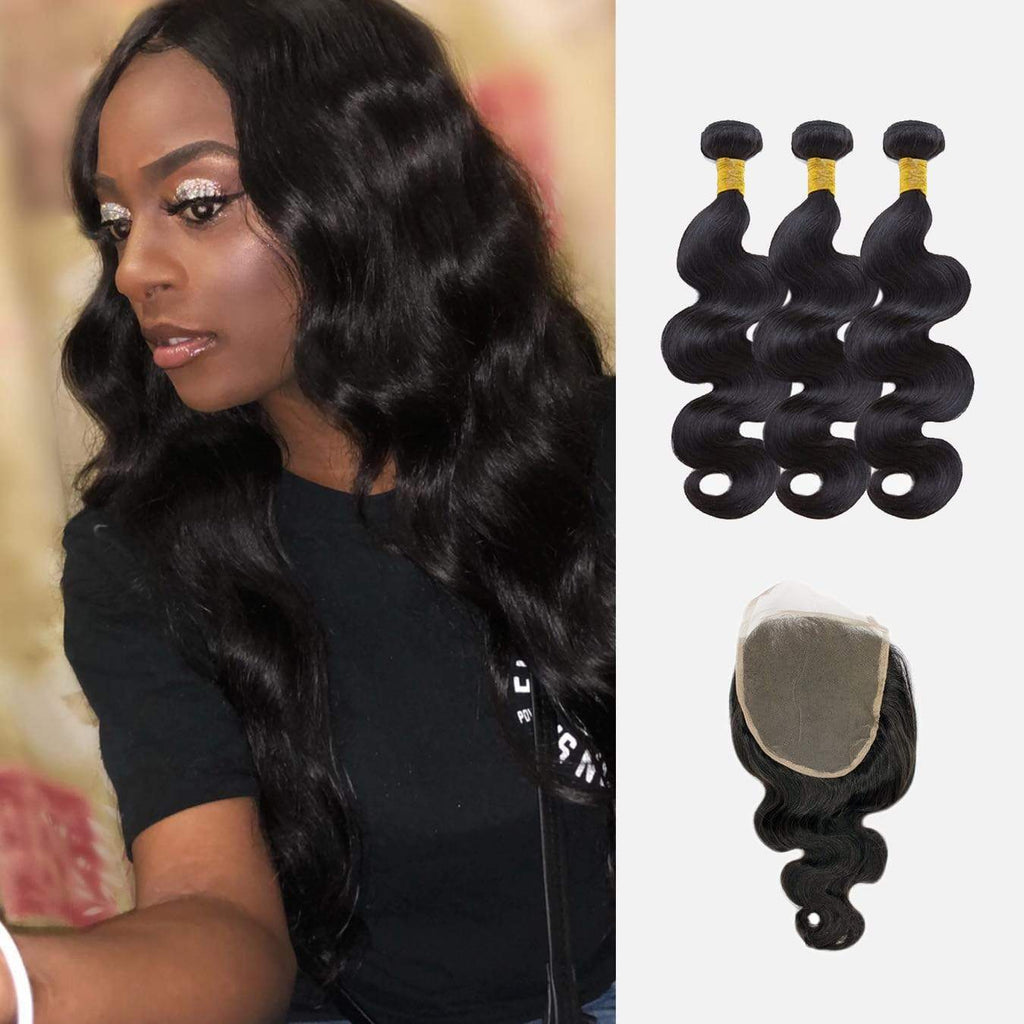 Brooklyn Hair 9A Body Wave / 3 Bundles with 6x6 Lace Closure Look - Bundle Hair - Brooklyn Hair