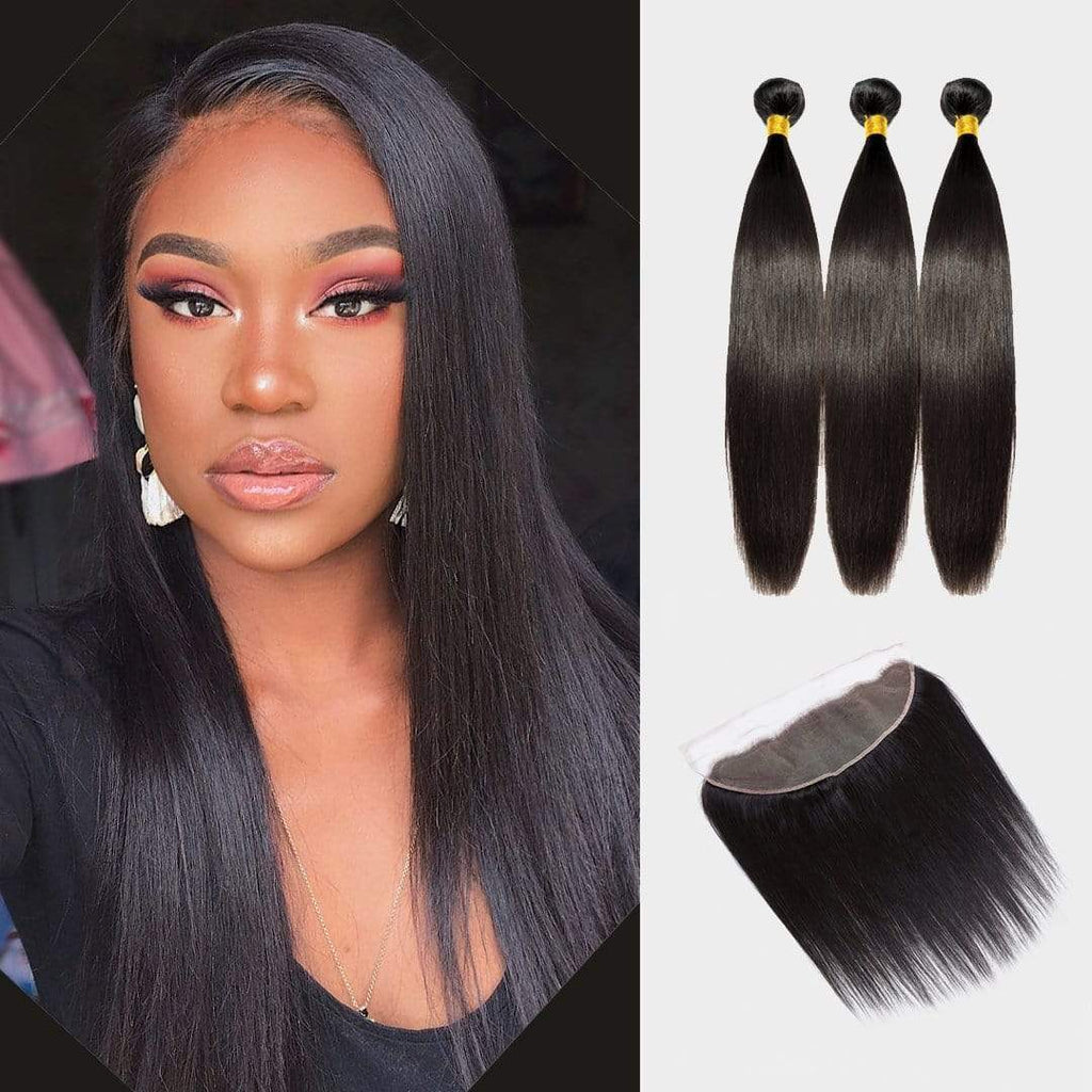 "Brooklyn Hair 9A Straight / 3 Bundles with 13x4 Lace Frontal 14"" Look - Bundle Hair - Brooklyn Hair"