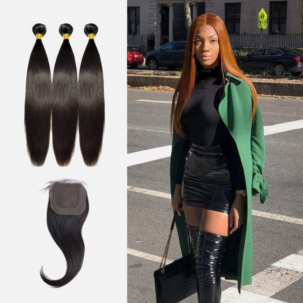 Brooklyn Hair Extension 9A Bundles Straight Long Hair Style Weave / 3 Bundles with 4x4 Lace Closure Deal - Bundle Hair - Brooklyn Hair