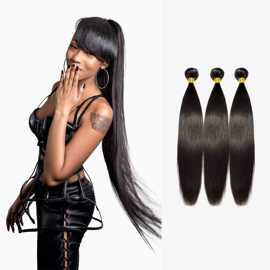 Brooklyn Hair 9A Straight / 3 Bundles Ponytail Look by Chiara - Brooklyn Hair