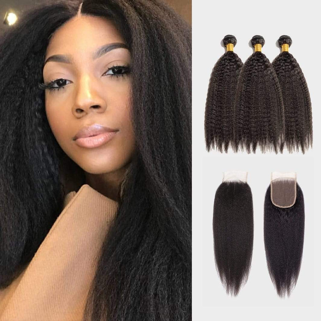 Brooklyn Hair 11A Kinky Straight / 3 Bundles with 4x4 Lace Closure Look by Theodora - Brooklyn Hair