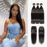 Brooklyn Hair Extension 7A 100% Brazilian Straight Virgin Hair Long Style Weave / 3 Bundles with 4x4 Lace Closure Deal - Bundle Hair - Brooklyn Hair