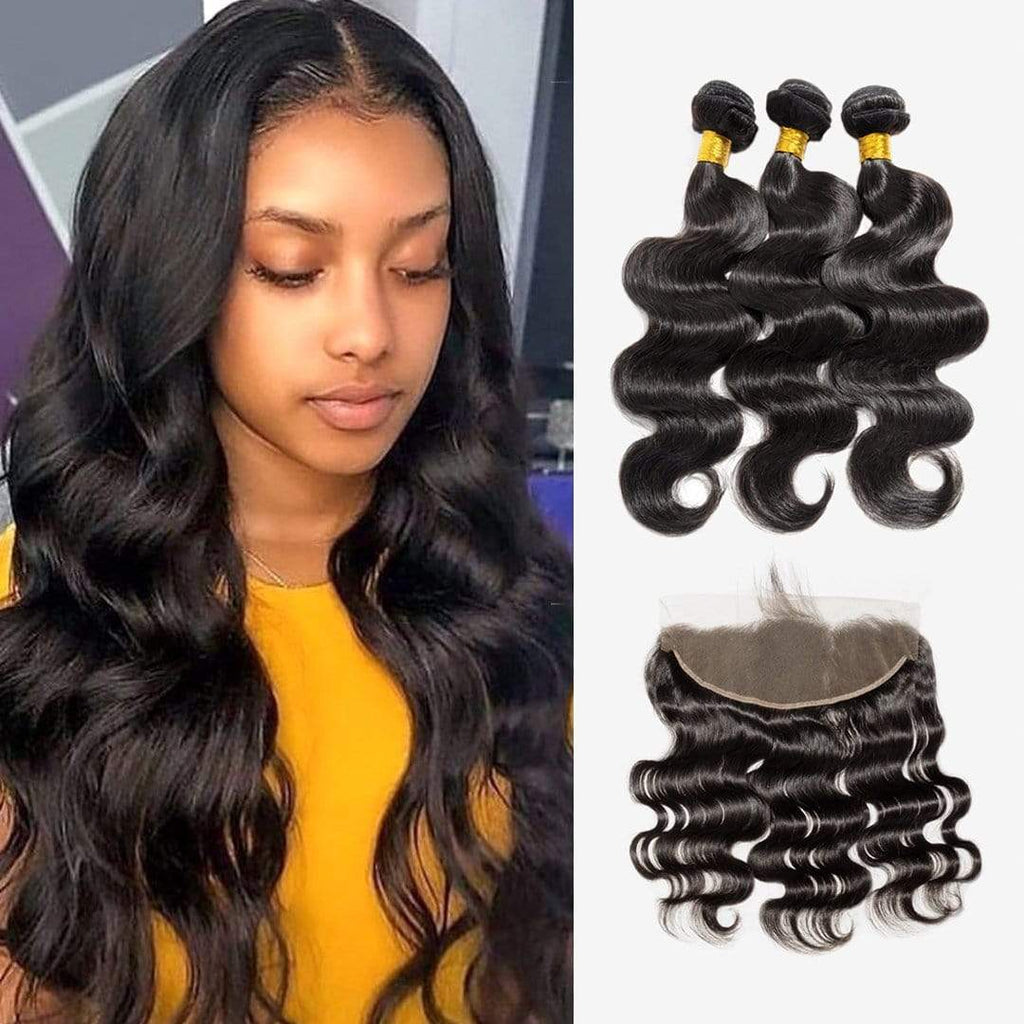 Brooklyn Hair Extension 7A 100% Human Brazilian Virgin Bundle Hair Body Wave Long Style Weave / 3 Bundles with 13x4 Lace Frontal Deal - Bundle Hair - Brooklyn Hair