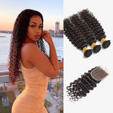 Brooklyn Hair 7A Deep Wave / 3 Bundles with 4x4 Lace Closure Look - Brooklyn Hair