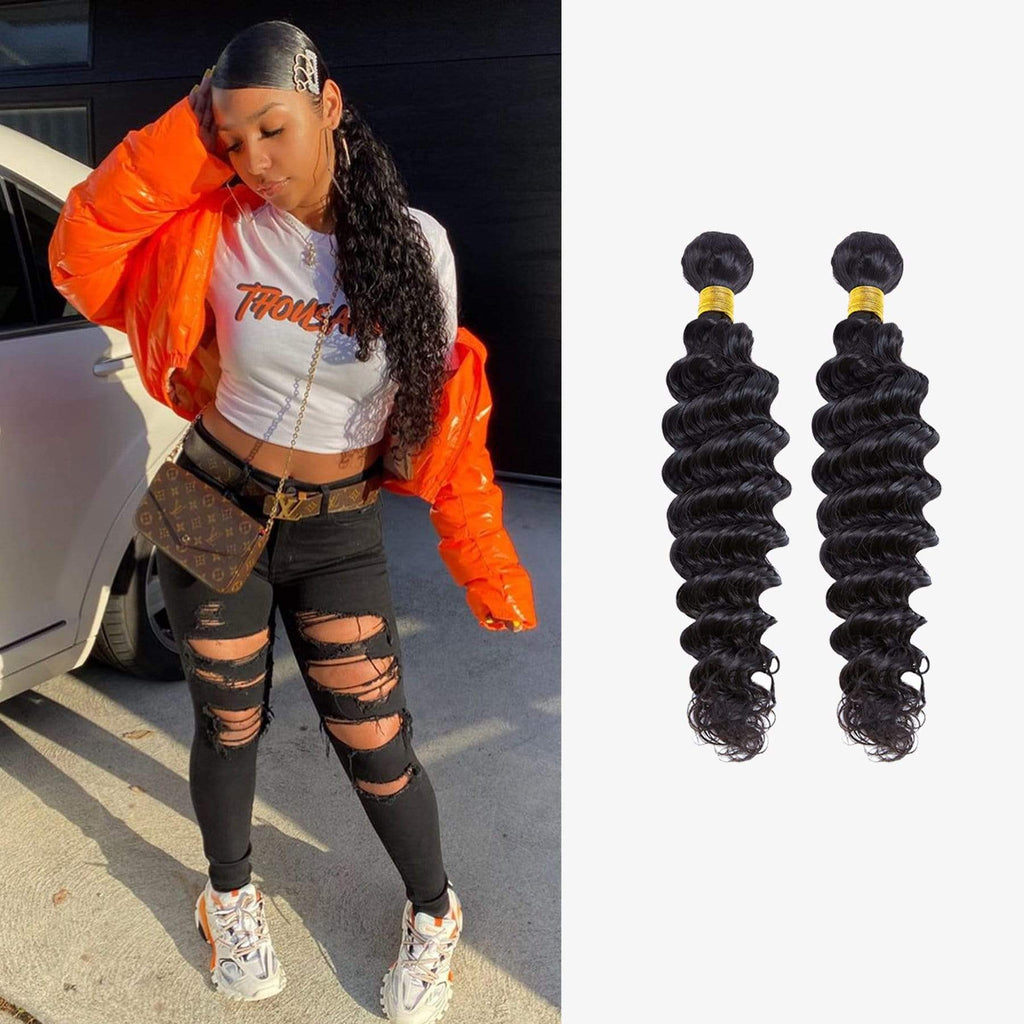 Brooklyn Hair 7A Virgin Deep Wave / 2 Bundles Ponytail Look - Brooklyn Hair