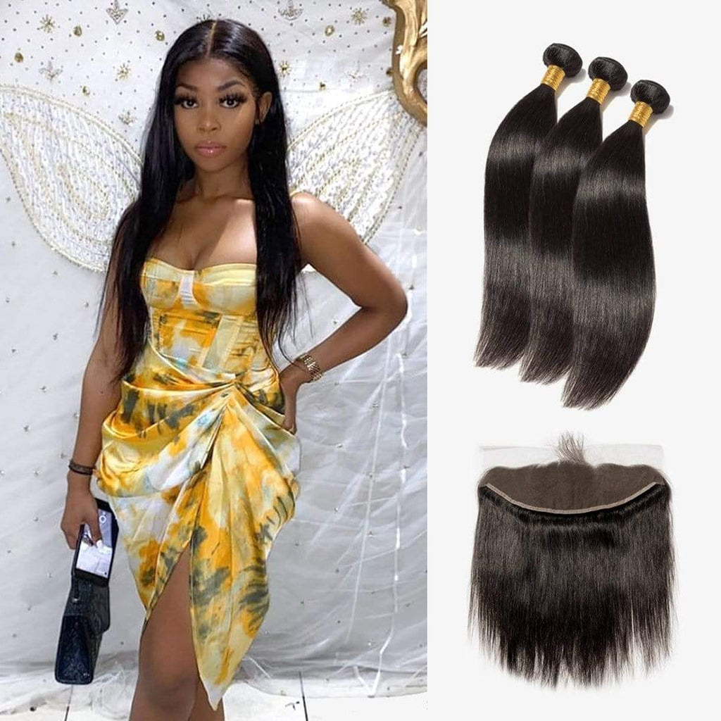 Brooklyn Hair 7A Virgin Straight / 3 Bundles with 13x4 Lace Frontal Look - Brooklyn Hair