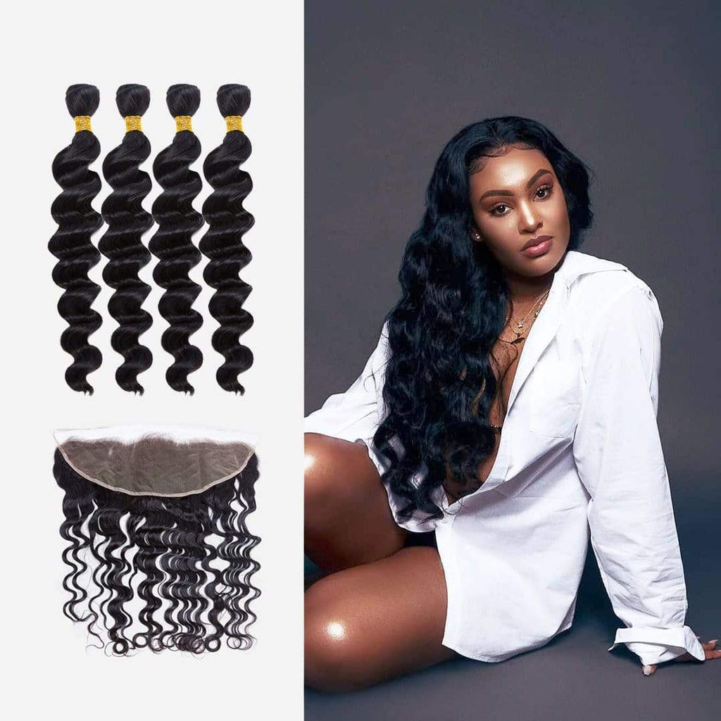 Brooklyn Hair 9A Loose Wave / 3 Bundles with 13x4 Lace Frontal Deal by Stephanie - Bundle Hair - Brooklyn Hair