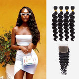 Brooklyn Hair 9A Loose Wave / 4 Bundles with 4x4 Lace Closure Look - Bundle Hair - Brooklyn Hair