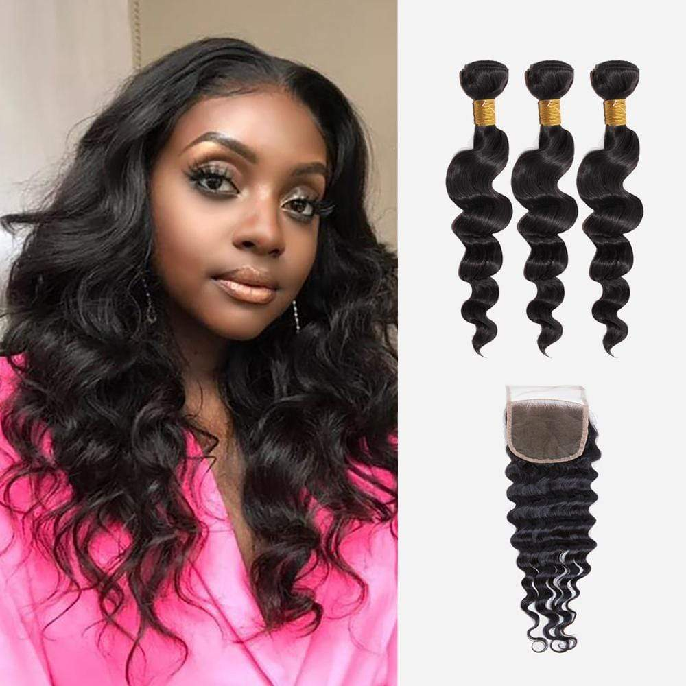 Brooklyn Hair 9A Loose Wave / 3 Bundles with 4X4 Lace Closure Look - Bundle Hair - Brooklyn Hair